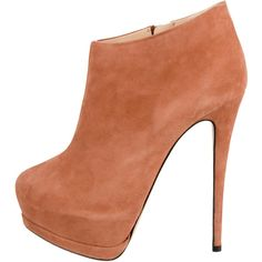 Pre-owned Giuseppe Zanotti Suede Platform Booties (780 RON) ❤ liked on Polyvore featuring shoes, boots, ankle booties, heels, booties, sapatos, orange, platform boots, stiletto booties and platform booties