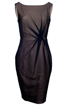 Stretch tulle boatneck dress, knee-length, sleeveless, zipper on back.  http://www.amazon.co.uk/gp/product/B008TQHC1W