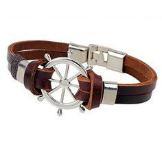 Ysiop Men Women Leather Rudder Bracelet Retro Helm Cuff Wristband Cowhide Pothook Bangle Brown *** Find out more details @