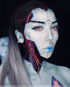 Best Robot Makeup Ideas For Amazing Halloween Party Robot Makeup, Doll Makeup, Sfx Makeup, Costume Makeup, Makeup Art, Maquillage Halloween, Halloween Makeup, Halloween Party, Makeup Inspiration