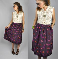 SILK X's Print Purple WRAP Skirt with Pockets by ItaLaVintage