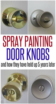 "Spray Painting Door Knobs - Infarrantly Creative I have started the task of spray painting all of the tacky brass door knobs and hinges in my house. I can handle the brassiness no more! I know everyone's question will be… ""Yah but how does it … Home Renovation, Home Remodeling, Kitchen Remodeling, Paint Door Knobs, Painting Doorknobs, Diy Door Knobs, Painting Hardware, Door Hinges, Interior Door Knobs"
