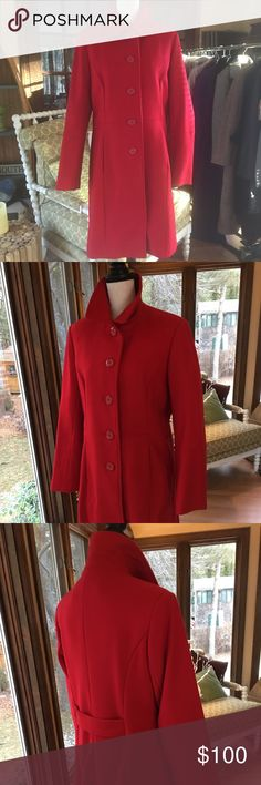 Leslie Fay Red Wool Blend Coat Sleek fitted Red wool blend 5 button coat by Leslie Fay.  Never been worn, in excellent condition! Lesley Fay Jackets & Coats Trench Coats
