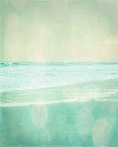 Beach Vintage Art Print - Aqua Soft Pastel Ethereal Bokeh Summer Ocean Beach House Wall Art Home Decor Photograph Travel Theme Decor, Vintage Travel Themes, Vintage Makeup Ads, Vintage Art Prints, Beach Print, Mellow Yellow, Beach House Decor, Ocean Beach, Vintage Pictures