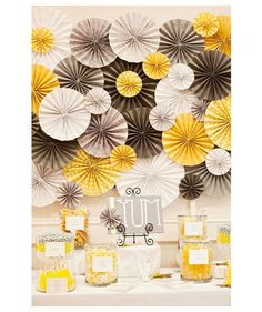 DIY wedding planner with diy wedding ideas and How To info including DIY wedding decor inspiration and tutorials. Everything a DIY bride needs to have a fabulous wedding on a budget! ideas for papers decorations here Paper Flower Decor, Paper Decorations, Flower Decorations, Paper Flowers, Pinwheel Decorations, Diy Flowers, Yellow Decorations, Table Flowers, Wedding Centerpieces