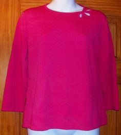 Ann Taylor Coral Knit Top Shirt Women's Size L Keyhole Neckline Embellishments #AnnTaylor #KnitTop #Career