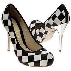 Black and white check pumps. Love the silver heels.