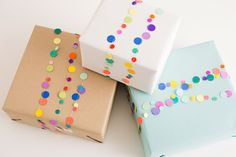 Use paper dots to make these gift toppers.
