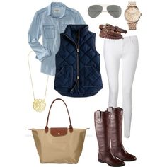 Navy vest with white jeans and a chambray shirt.