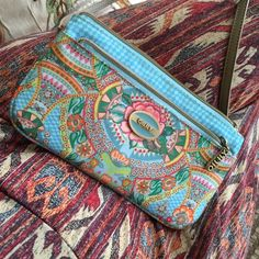 Oilily clutch handbag Oilily shoulder bag with strap multi spring pattern pink striped interior good condition. XS flat shoulder bag pattern: iron Oilily Bags Clutches & Wristlets