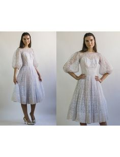 7094aa8d9e85 Lace Puff Sleeves Sweetheart Neckline Full Skirt Dress    Vintage White  Lace Party Dress    Size XS Extra Small by AveryVintageShop on Etsy