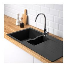 $449 I IKEA - HÄLLVIKEN, 1 1/2 bowl insert sink with drainer, 25 year guarantee. Read about the terms in the guarantee brochure.Very hygienic because the surface is dense and completely non-porous and dirt and bacteria simply run off it.Can take tough everyday use as it is both stain- and scratch-resistant and even red wine, coffee and heavy pans leave no marks.