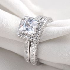 14K White Gold Princess Diamond Engagement Ring Ladies Wedding Band Bridal Set #Aonedesign #WeddingEngagementAnniversaryPromisePartyWare