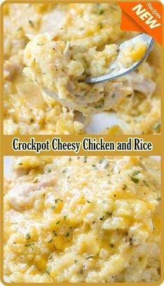 Crockpot Cheesy Chicken and Rice Amzing Food Crockpot Rice Recipes, Chicken And Rice Crockpot, Slow Cooker Recipes, Cooking Recipes, Healthy Recipes, Crockpot Stuffing, Crockpot Meals, Chicken Rice, Lemon Pepper Chicken Crockpot