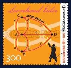 International Congress of Mathematicians Seoul 2014, graph, scientific mathematics, Orange, 2014 07 15, 2014 서울세계수학자대회 기념우표,  2014년 07월 15일, 2990, 오일러의 그래프, Postage 우표