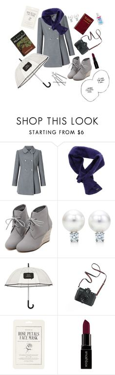 """""""British Woman in Romance Movies"""" by enteranoriginalusernamehere ❤ liked on Polyvore featuring Miss Selfridge, LIU•JO, WithChic, Kate Spade, Madewell, Forever 21, Smashbox, cute, british and rain"""
