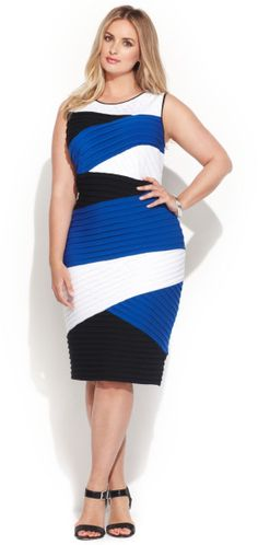 Calvin Klein Plus Size Colorblock Shutterpleat Sheath in Multicolor (Multi) - Lyst