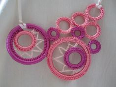Tenderness crocheted necklace with ribbons via Etsy