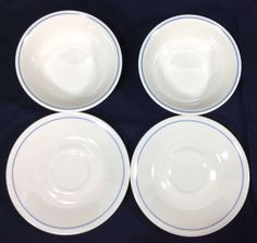 Corelle by CorningTan Blue Band 2 Saucers and 2 Cereal Bowls Lot #Corelle