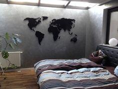 Wanddeko - Weltkarte aus Metall - ein Designerstück von MaximGlueck bei DaWanda