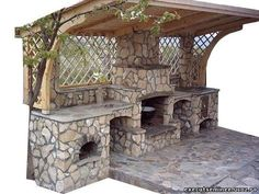 Gratare si cuptoare de gradina - Seminee - Seminee si gratare garden garage ideas Best Outdoor Kitchen Ideas and Designs for your Friends Backyard Kitchen, Outdoor Kitchen Design, Backyard Patio, Backyard Landscaping, Outdoor Spaces, Outdoor Living, Outdoor Decor, Outdoor Oven, Outdoor Cooking Area