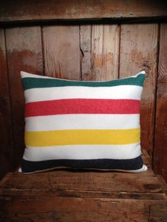 A pillow made from from a Hudson's Bay blanket