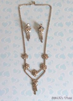 SILVER TONE RHINESTONES Necklace Earrings Set Party Wedding Formal Night Out #Unbranded