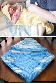 Free Knitting Pattern for Easy Hooded Baby Towel and Wash Cloth - Garter stitch towel knit diagonally with hood to keep baby's head warm. Designed by Donna Stratioti. Rated easy by Ravelrers. Pictured projects by and knitstx Easy Knitting Patterns, Baby Patterns, Free Knitting, Baby Knitting, Crochet Baby Blanket Free Pattern, Baby Washcloth, Baby Towel, Knitted Baby Blankets, How To Purl Knit