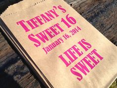 Sweet 16 Favor Bags or Gift Bags Bat Mitzvah by pishposhparty Sweet 16 Favors, Sweet 16 Gifts, Sweet 15, Tiffany Sweet 16, Sweet 16 Birthday, 16th Birthday, Birthday Ideas, Birthday Fun, Candy Bar Bags