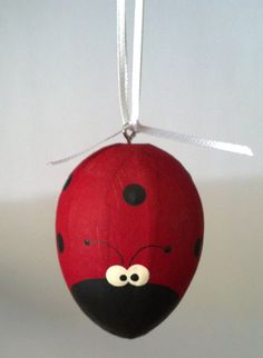 A charming hand painted paper mache ladybug egg. By @Stephen McElhinney McElhinney Smith Toes - Jenny