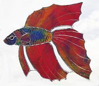 Beta Fish - suncatcher - gifts - stained glass