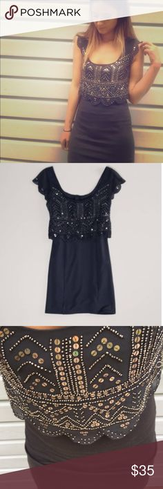 Grey American eagle dress Make an offer! Embellished top zips up back, body con fits 2-4 American Eagle Outfitters Dresses Mini
