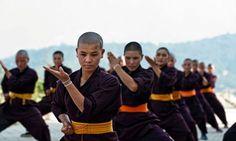 Nuns practising kung fu at the Druk Gawa Khilwa Buddhist nunnery in Ramkot, Nepal  photo: Simon De Trey-White