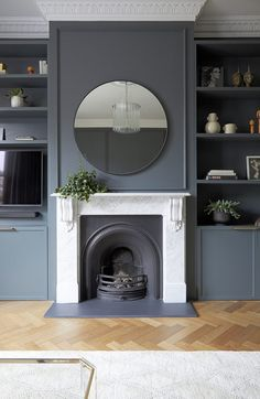 47 Best Blue Living Room Decoration Ideas That You Need To See - A blue living room may bring relaxation to the owner because the nature of the color used itself has relaxing and comforting features. Dark Living Rooms, Home Living Room, Living Spaces, Modern Living, Victorian House Interiors, Victorian Living Room, 1930s Living Room, Victorian Fireplace, Alcove Ideas Living Room