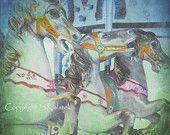 Carousel Art Photograph Dreamy Carnival Nursery Art Pastel Green Blue Pink Merry go Round Horses 8x8 wall art