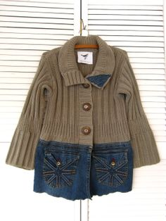 Jacket upcycled clothing Funky denim sweater