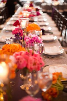 Style Me Pretty   Gallery   Picture   #753825; pink, orange, flowers, long table, tablescape, place settings, party decor