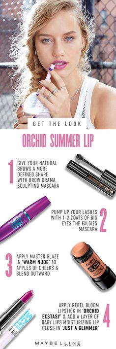 Want a flirty, fresh look that's perfect for playing hooky during the last awesome days of summer? Amp up your pout by layering our new Baby Lips Moisturizing Lip Gloss in 'Just A Glimmer' on top of Maybelline Color Sensational Rebel Bloom in 'Orchid Ecstasy'. Keep your brows on fleek with Brow Drama Sculpting Mascara. Finish off this rad look with Big Eyes The Falsies Mascara and Master Glaze in 'Warm Nude'. Then, come meet us at the b-ball court for a game of Horse.
