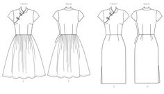 Butterick Sewing Pattern Misses' Dresses with Mandarin Collar and Skirt Options Clothing Sketches, Dress Sketches, Mandarin Dress, Mandarin Collar, Chinese Clothing, Chinese Dresses, How To Make Clothes, Making Clothes, Fashion Design Sketches
