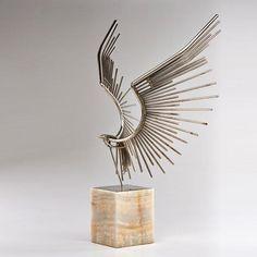 curtis jere chromed steel eagle sculpture on alabaster pedestal - circa 1980