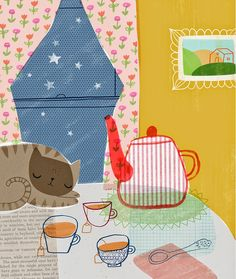 The art of Sarah and Colin Walsh: Comfy Cozy #collage #cat