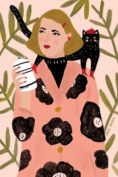 Art Journal Inspiration, Graphic Design Art, Portrait Art, Cat Art, Cute Drawings, Graphic Illustration, Collage Art, Art Lessons, Vector Art
