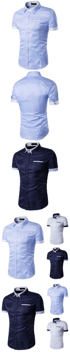 2017 Summer Men's Solid Turn-down Collar Shirt Brand Male Slim Fit Business Casual Short Sleeves Shirt Men Clothes