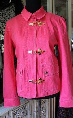 Ralph Lauren Hot Pink Cotton Stretch Denim Jean Jacket Women Coat Large #RalphLauren #JeanJacketOcat