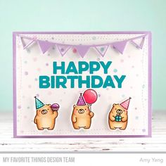 Stamps: Bitty Bears, Happy Hippos, Big Birthday Wishes Die-namics: Bitty Bears, Party Banners, Wonky Stitched Rectangle STAX Stencils: Snowfall Amy Yang #mftstamps