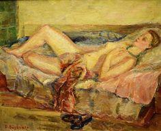Băjenaru Dan (1900-1988) - Nud pe canapea / Nude on the sofa
