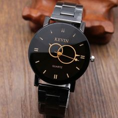 Kevin Popular Black Round Dial Stainless Steel Band Quartz Wrist Watch Men Women