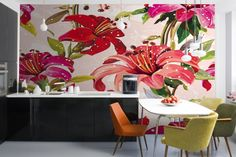 Red and Pink Illustrated Flowers Mural