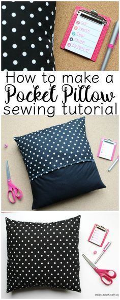 How to Make a Pocket Pillow Cover - Sewing School : If you are ready to start decorating for the holidays then you are going to want to learn how to make a pillow cover! These pocket pillow covers are a great way to update your decor and they are quick an Easy Sewing Projects, Sewing Projects For Beginners, Sewing Hacks, Sewing Tutorials, Sewing Crafts, Sewing Tips, Sewing Ideas, Crochet Projects, Sewing Basics