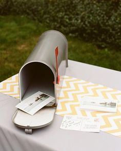 In lieu of a guest book, the groom designed and set out vintage-style postcards featuring a photo of the Portsmouth riverfront. Guests were asked to pen a note and pop it in the old mailbox that sat on the table Unique Weddings, Real Weddings, Old Mailbox, Portsmouth New Hampshire, Wedding Activities, Wedding Guest Book Alternatives, Martha Stewart Weddings, Gift Table, Wedding Favors